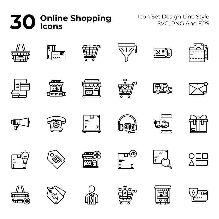30 Online Shopping Icon Set Line Style