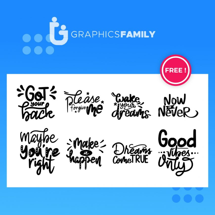 Set of hand lettering inspirational quotes free