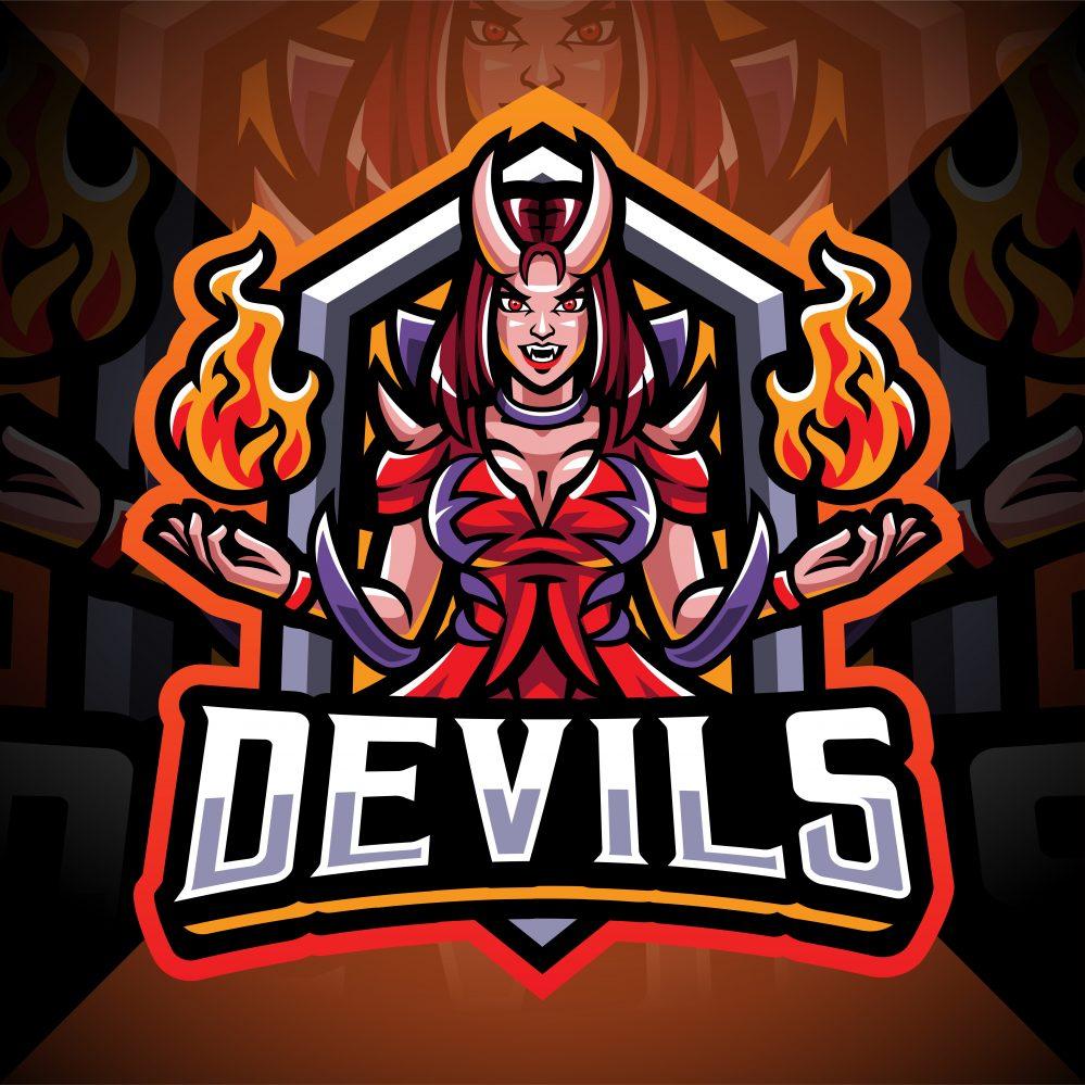 Devils Girl Esport Mascot Logo