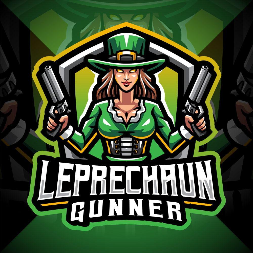 Leprechaun Gunner Girls Esport Mascot Logo