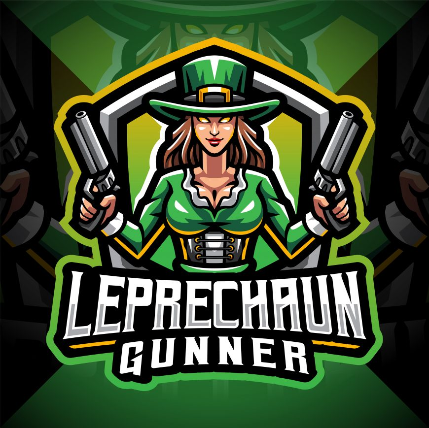 Leprechaun Gunner Girls Esport Mascot Logo