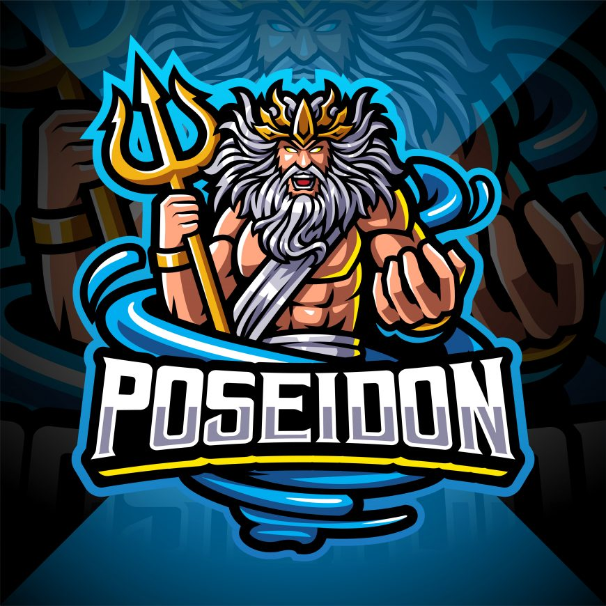 Poseidon Esport Mascot Logo Design With Trident Weapon