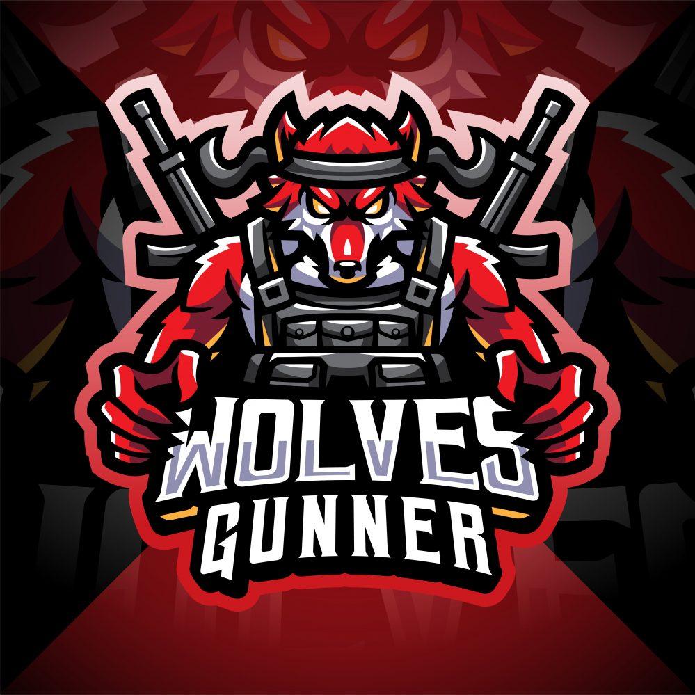 Wolves Gunner Esport Mascot Logo
