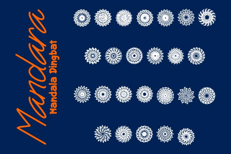 Mandara a Mandala Dingbat Font