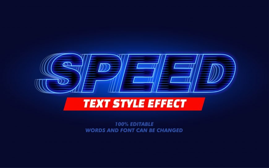 Glowing Blue Line Text Effect