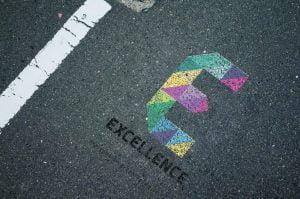 E letter road logo mockup