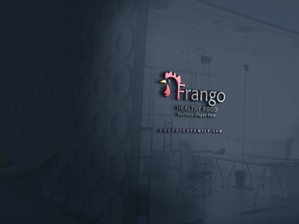Frango-Poultry-Farm-Logo-Template-Mockup-3d-Glass