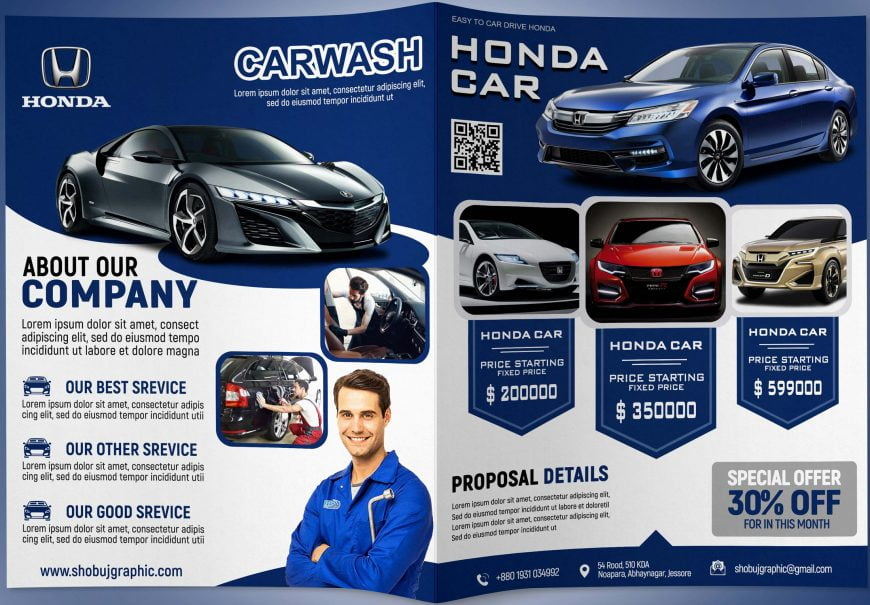 Free-Car-Company-Professional-Bi-Fold-Brochure-Design-Template-Download