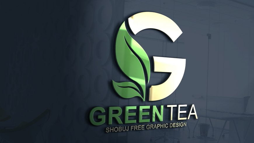 Green Tea Vector Logo Design free mockup