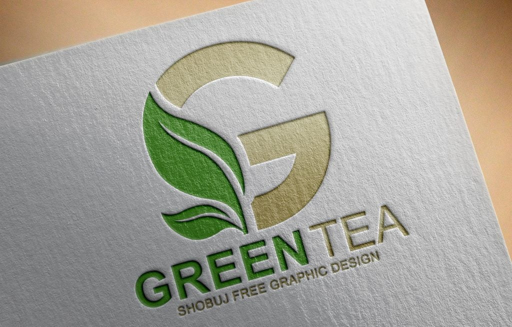 Green Tea Vector Logo Design paper effect