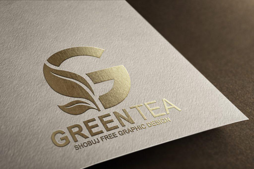 Green Tea Vector Logo Design paper effect mockup