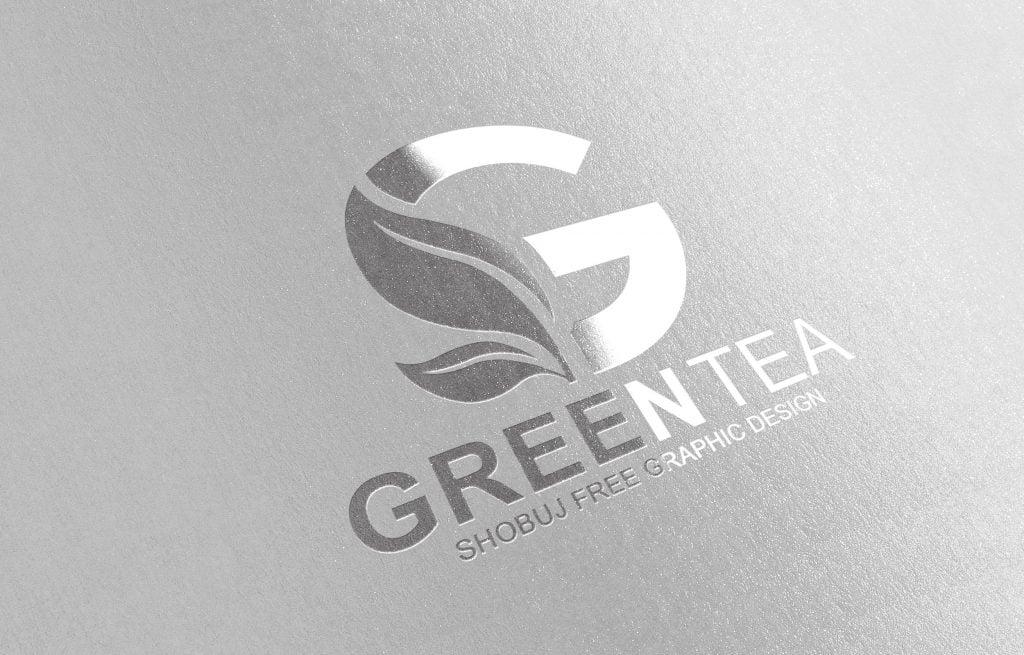Green Tea Vector Logo Design paper effect mockup jpeg