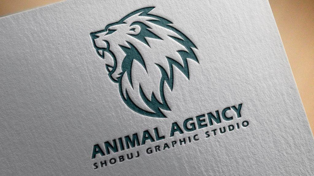 Lion Agency Logo Logo Mokcup Paper Effect