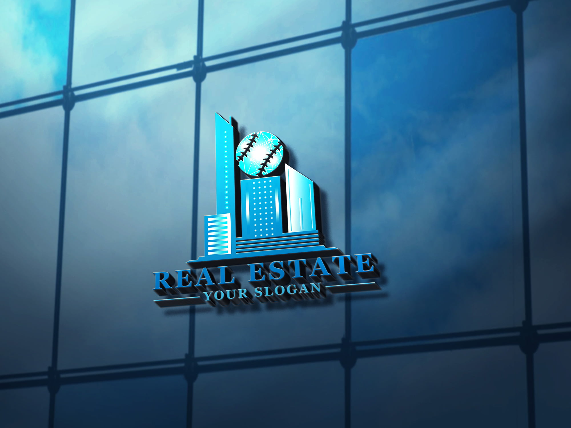 Premium-Real-Estate-Logo-Template-3D-glass-mockup-premium
