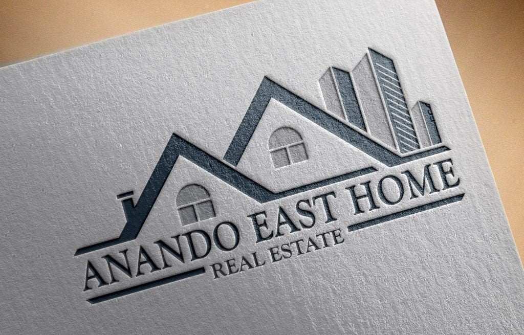 Real Estate Building Logo Template mockup paper effect