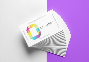business card mockup letter O