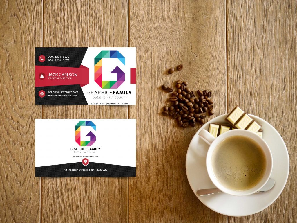 business cards mockup free letter G logo