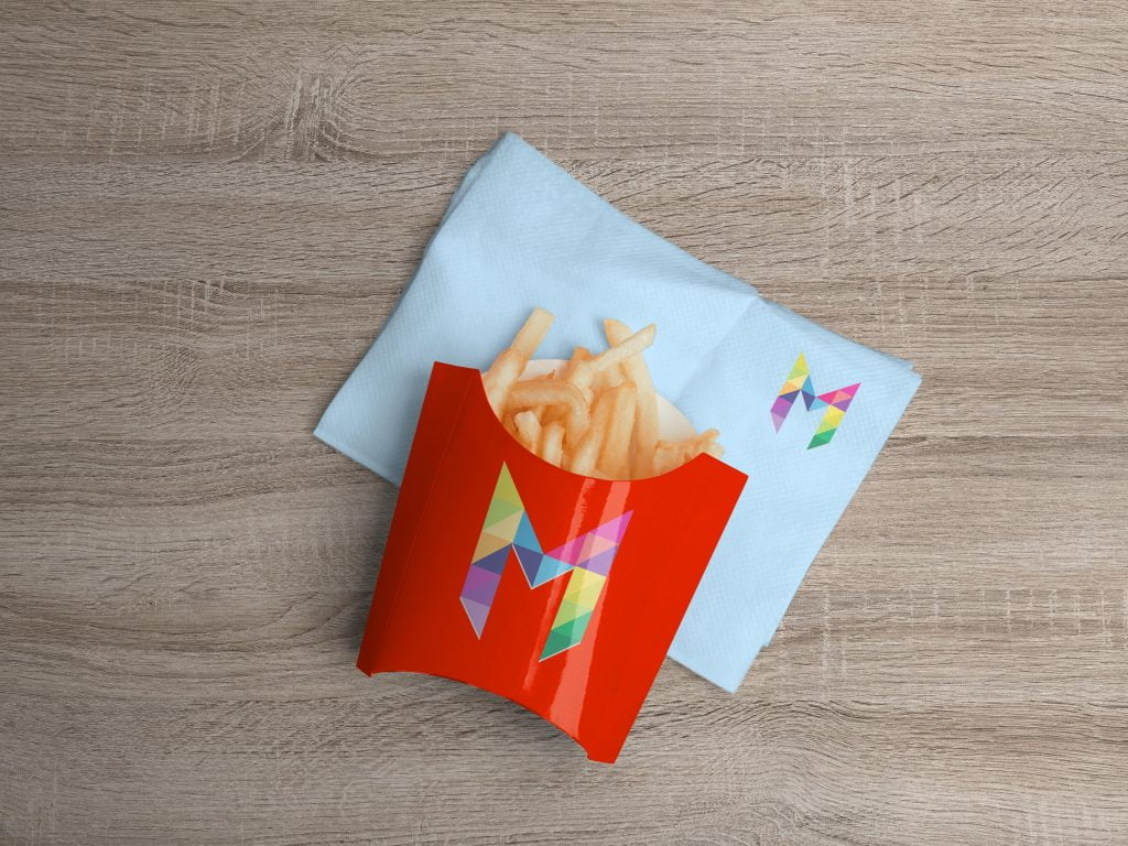 letter M french fries mockup