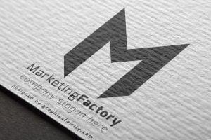 letter M logo graphic mockup