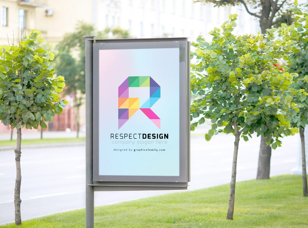 outdoor signage mockup for letter R logo idea