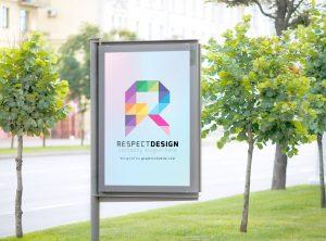 outdoor signage mockup for letter R logo idea