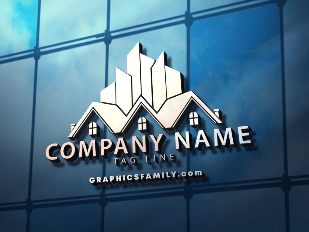professional-house-logo-3D-glass-mockup