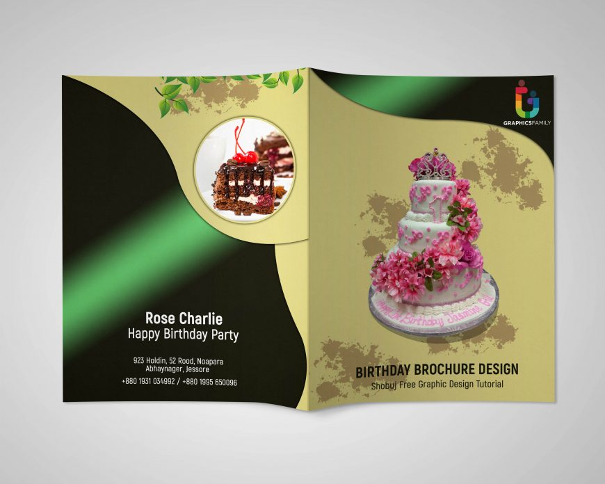 Birthday Event Bi Fold PSD Brochure Design