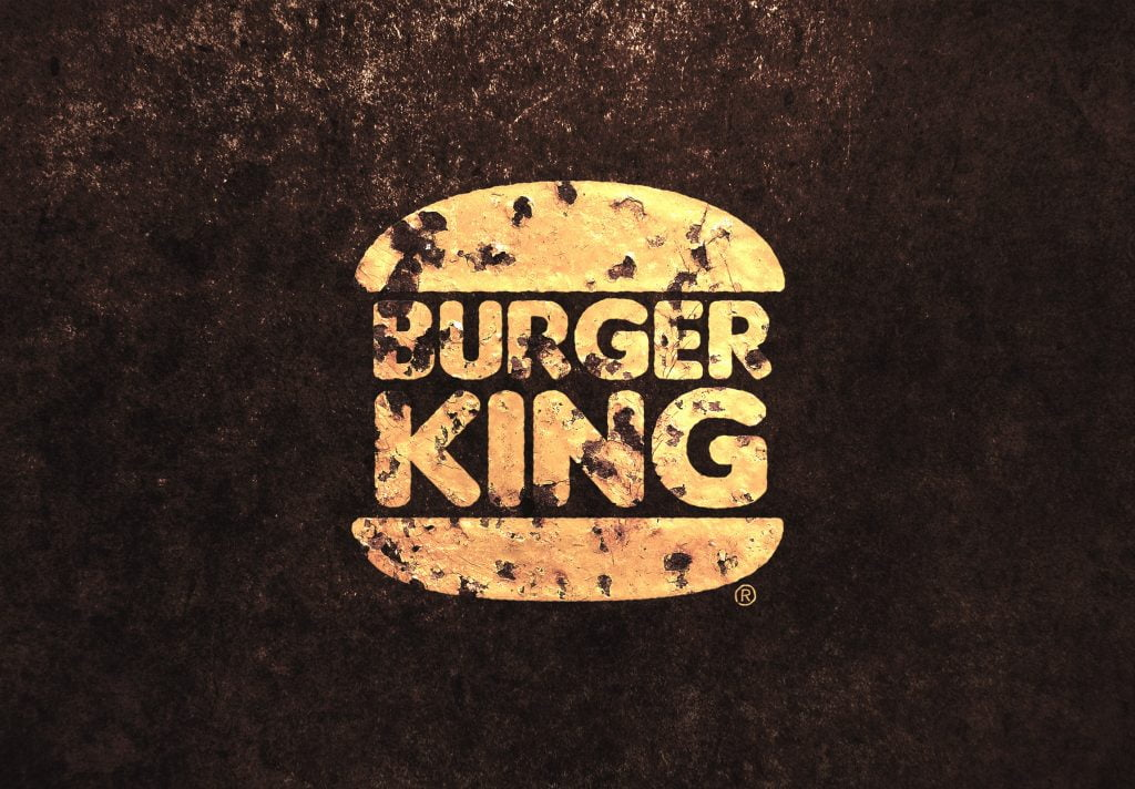 Burger King Vintage Golden Paint Logo MockUp
