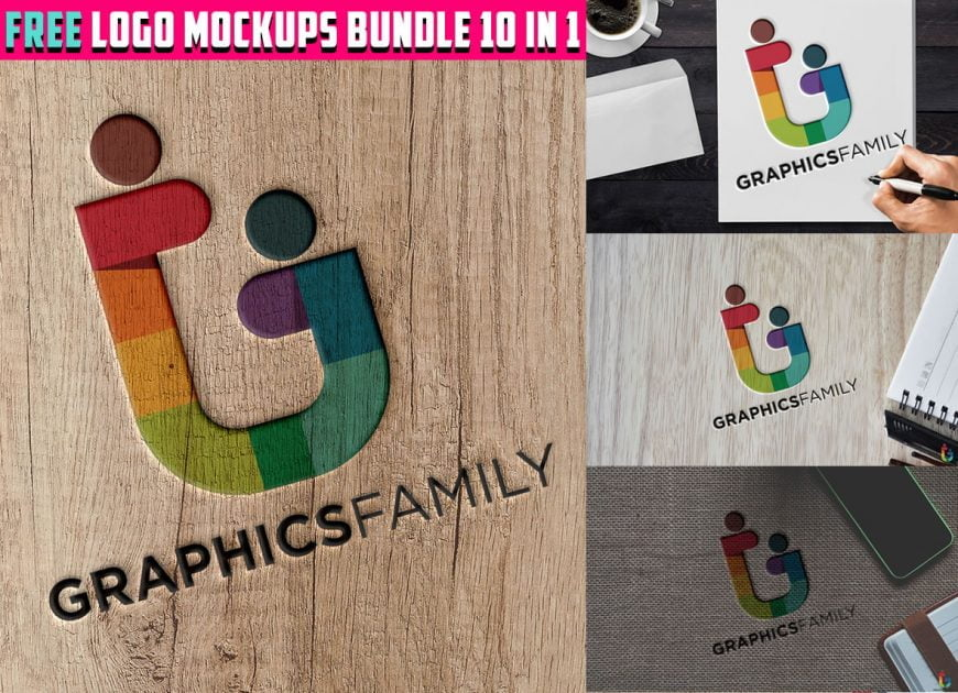 Free-Logo-Mockups-Bundle-10-in-1-Download