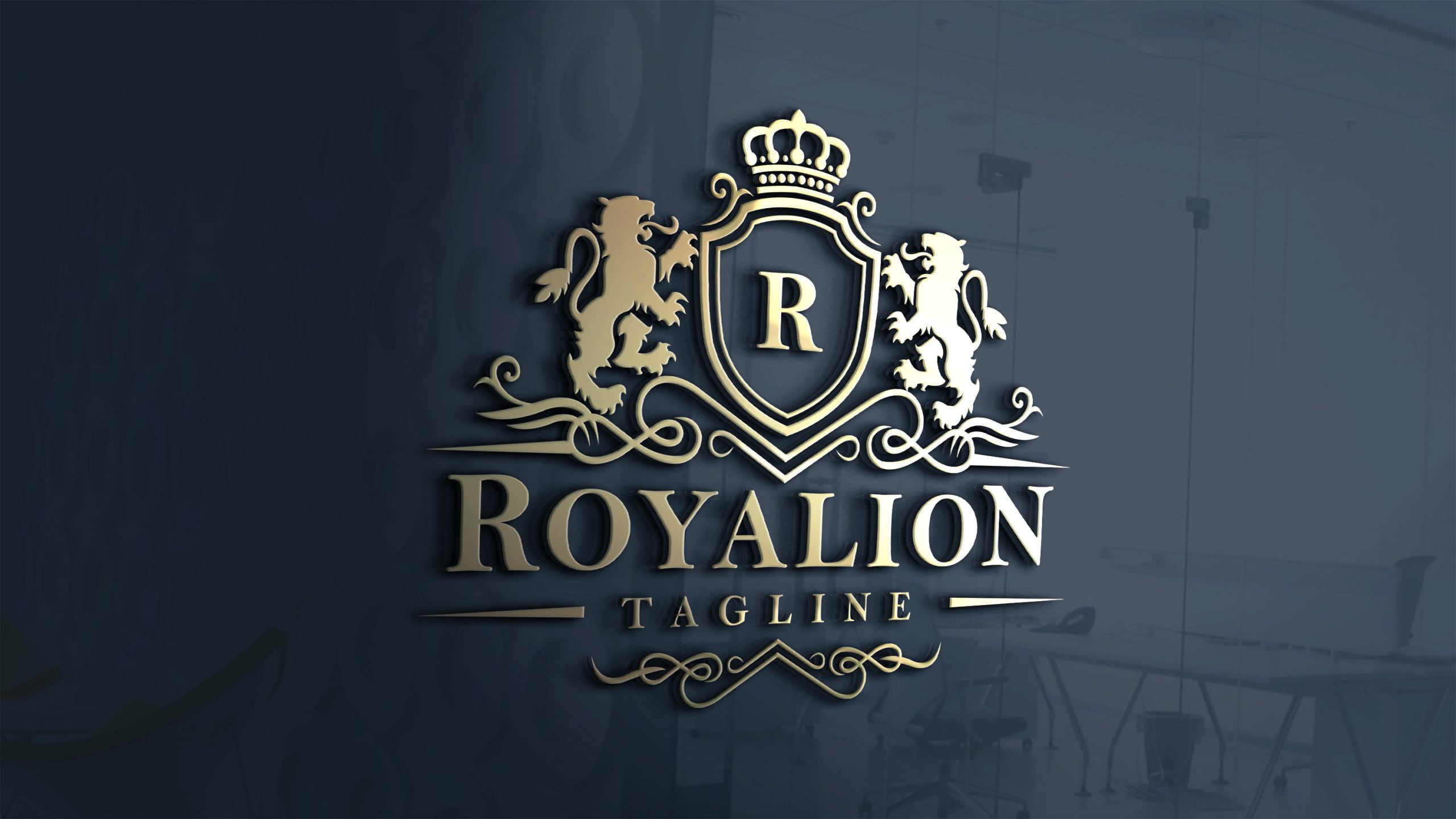 Free Luxury Brand Elegant Royal Logo Download Window Mockup