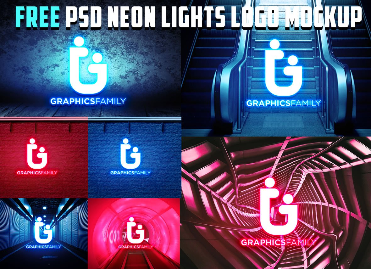 Free PSD Neon Lights Logo MockUp
