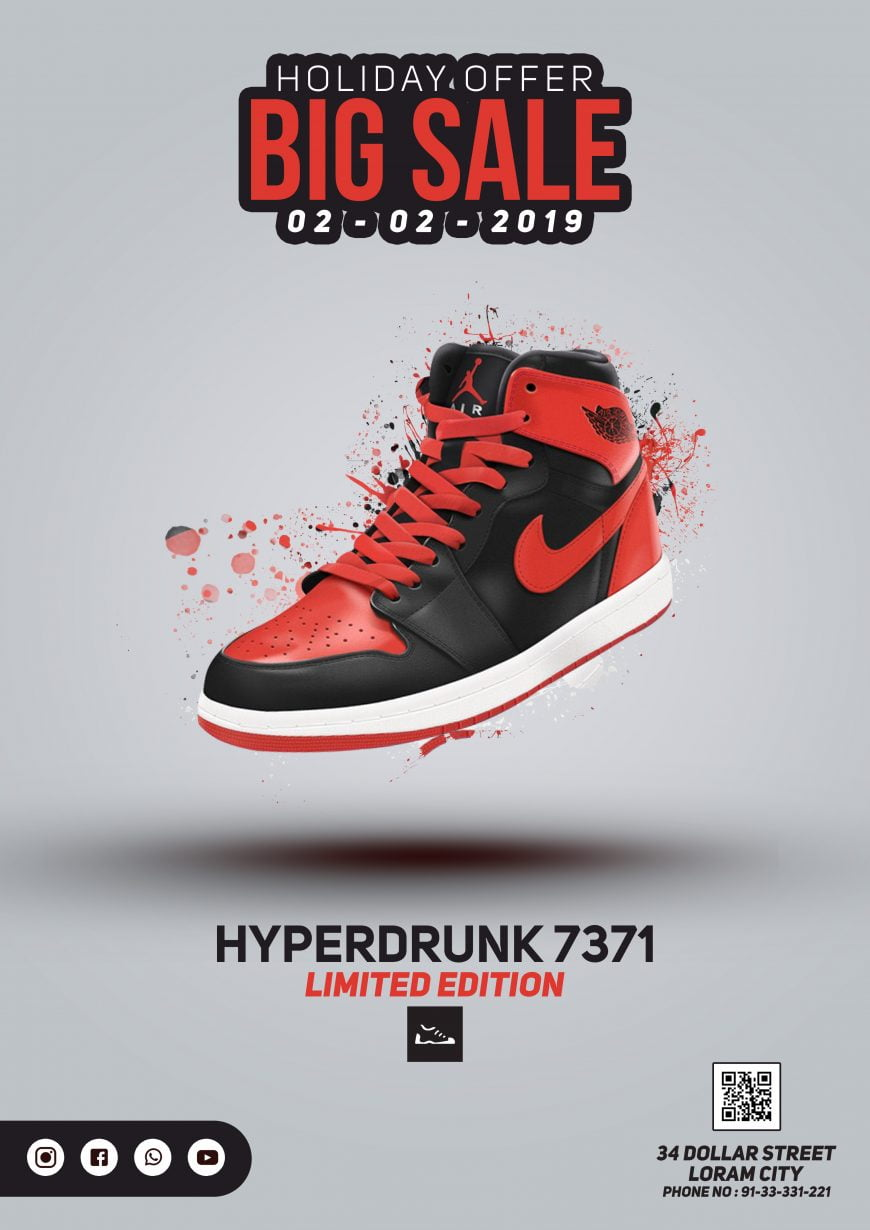Free Sport Shoes PSD Flyer Design