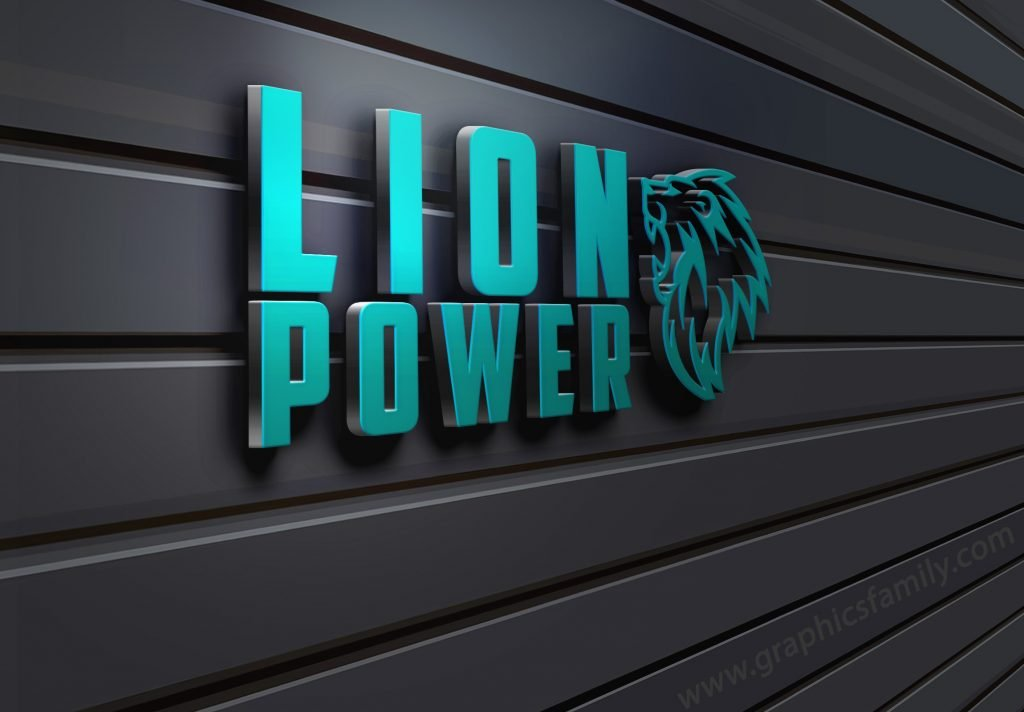 Lion-Power-Business-3D-Wall-Logo-MockUp