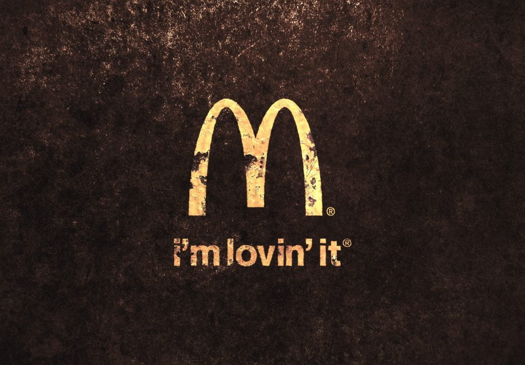 McDonalds Vintage Golden Paint Logo MockUp