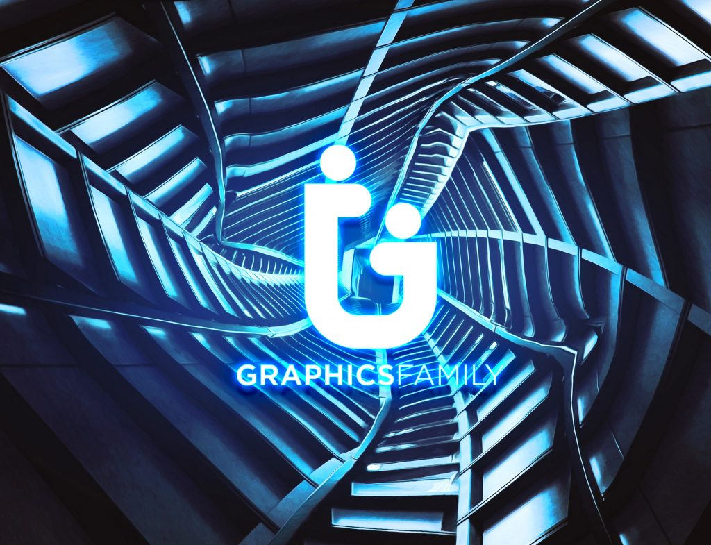 Metallic-Corridor-PSD-Download-Neon-Light-Logo-MockUp