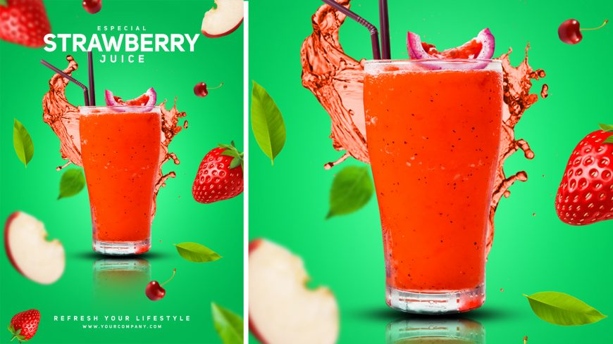 Strawberry juice poster design