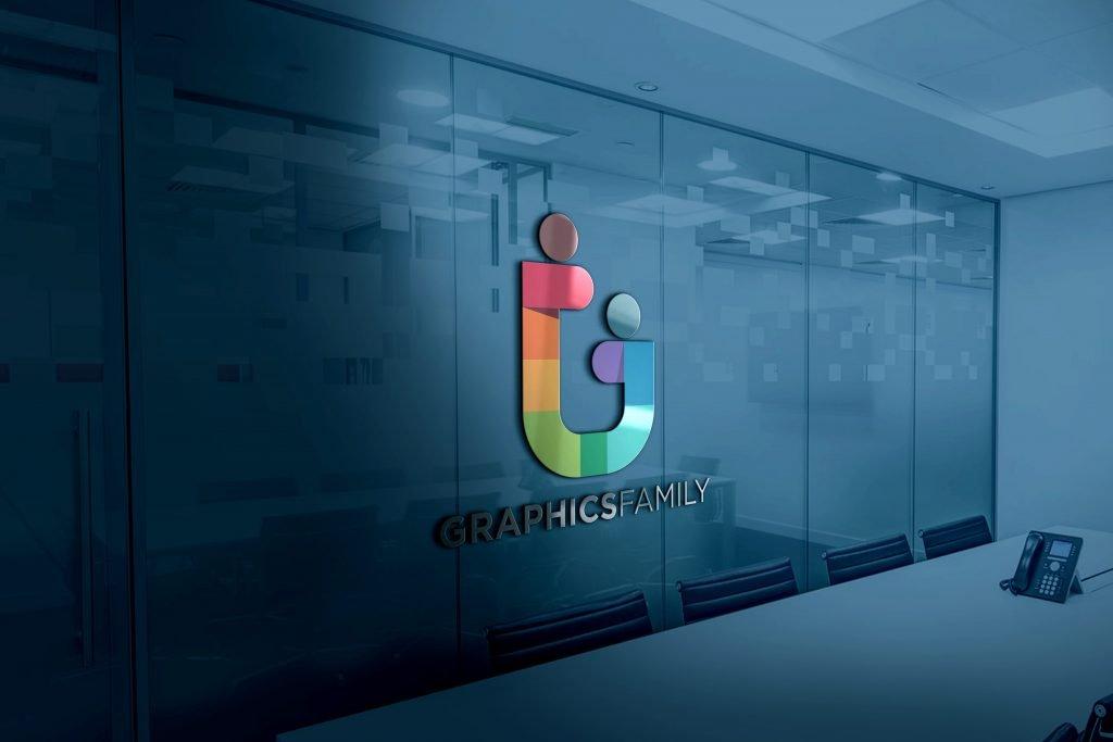 3D Glass Logo Mockup Free Download Jpeg