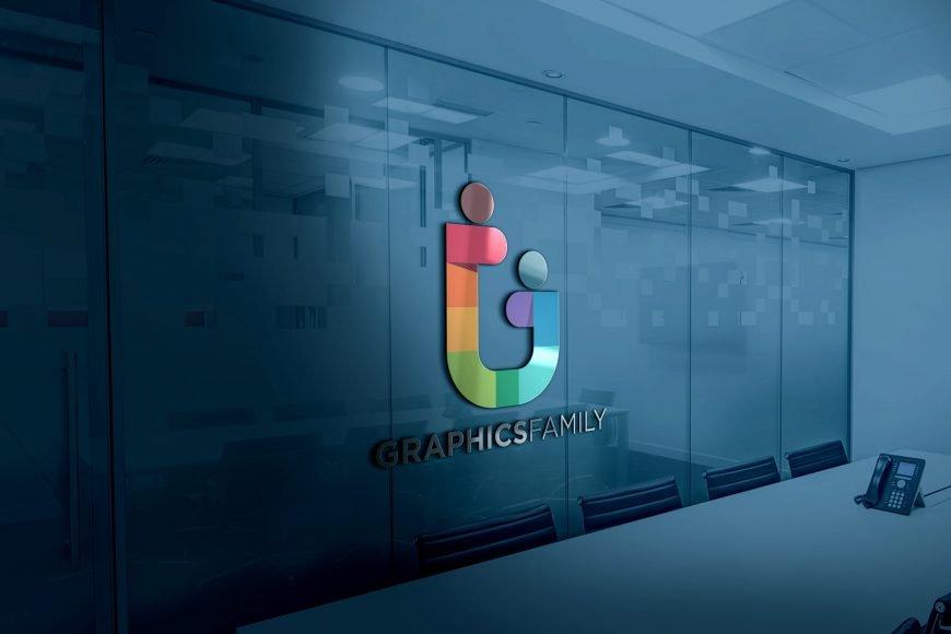 Free 3D Glass Window .PSD Logo MockUp