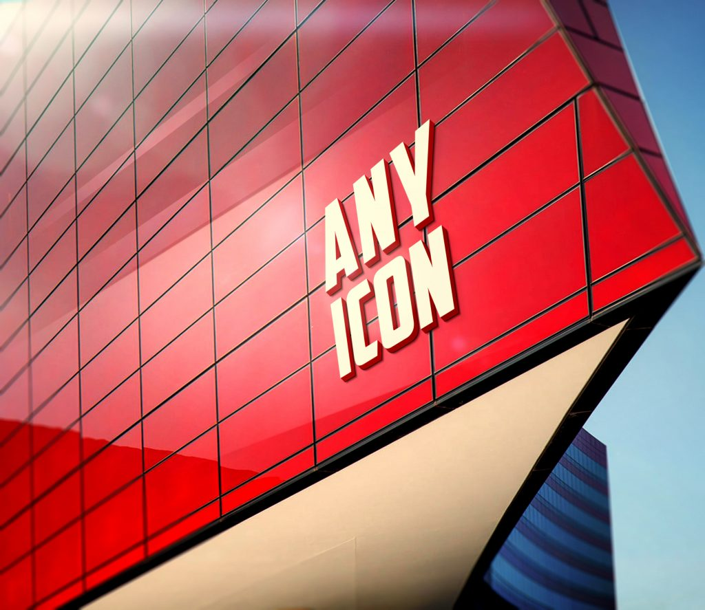 Any-ICON-Free 3D Red Building Facade Logo Mockup