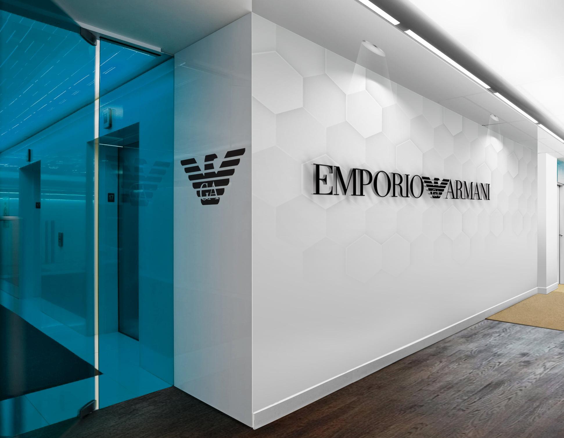 Armani-Emporio-Armani-3D-Wall-Logo-&-Slogan-Mockup