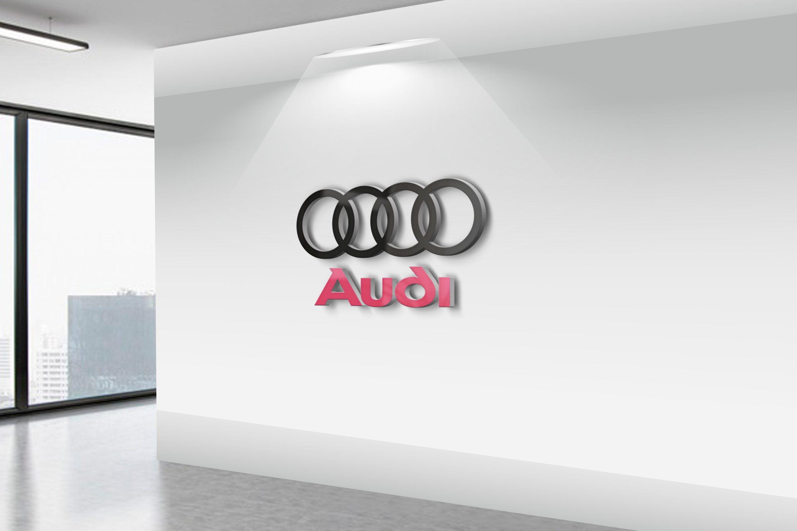 Audi-Realistic-3D-Wall-Logo-MockUp