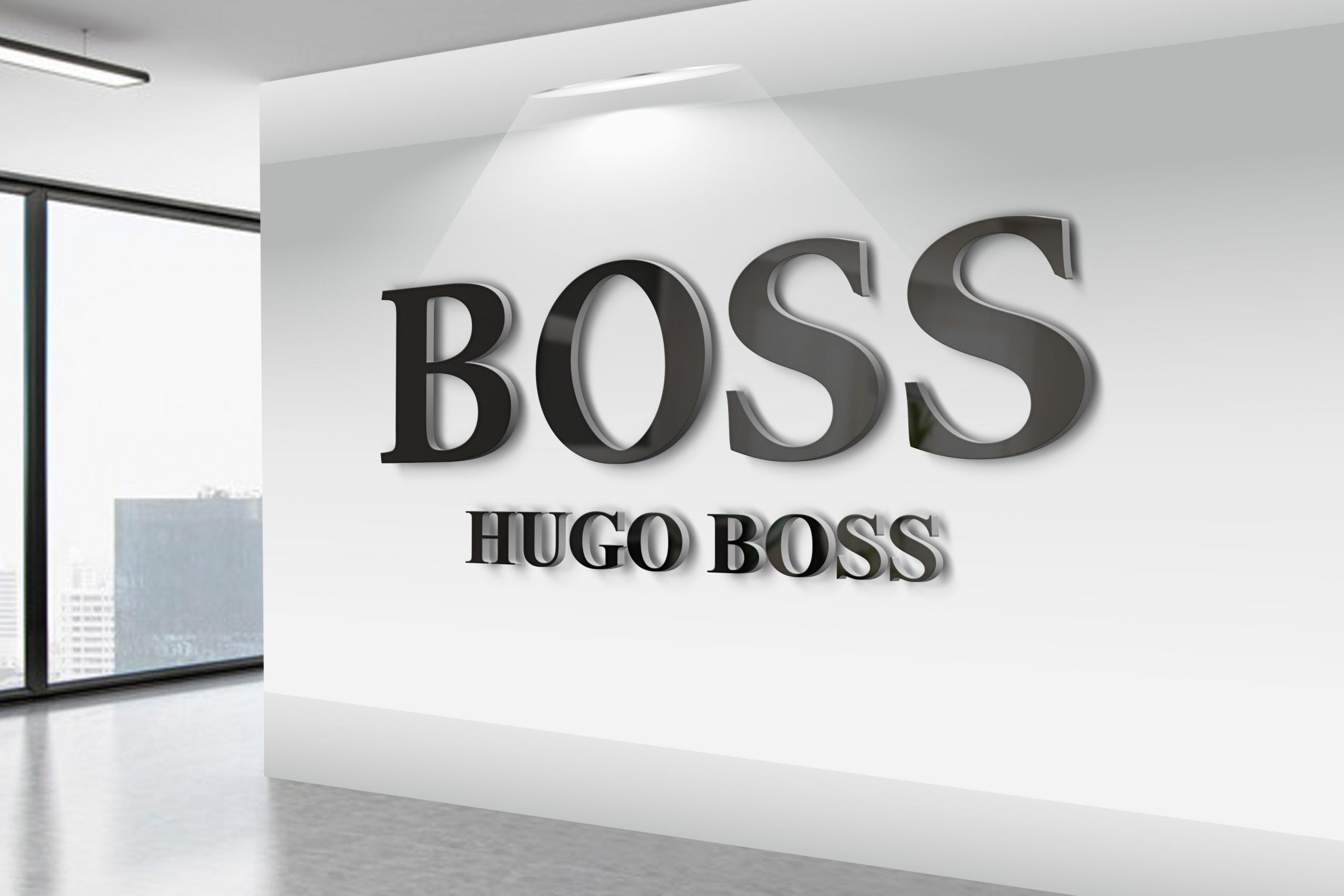 Hugo-Boss-3D-Wall-Logo-MockUp