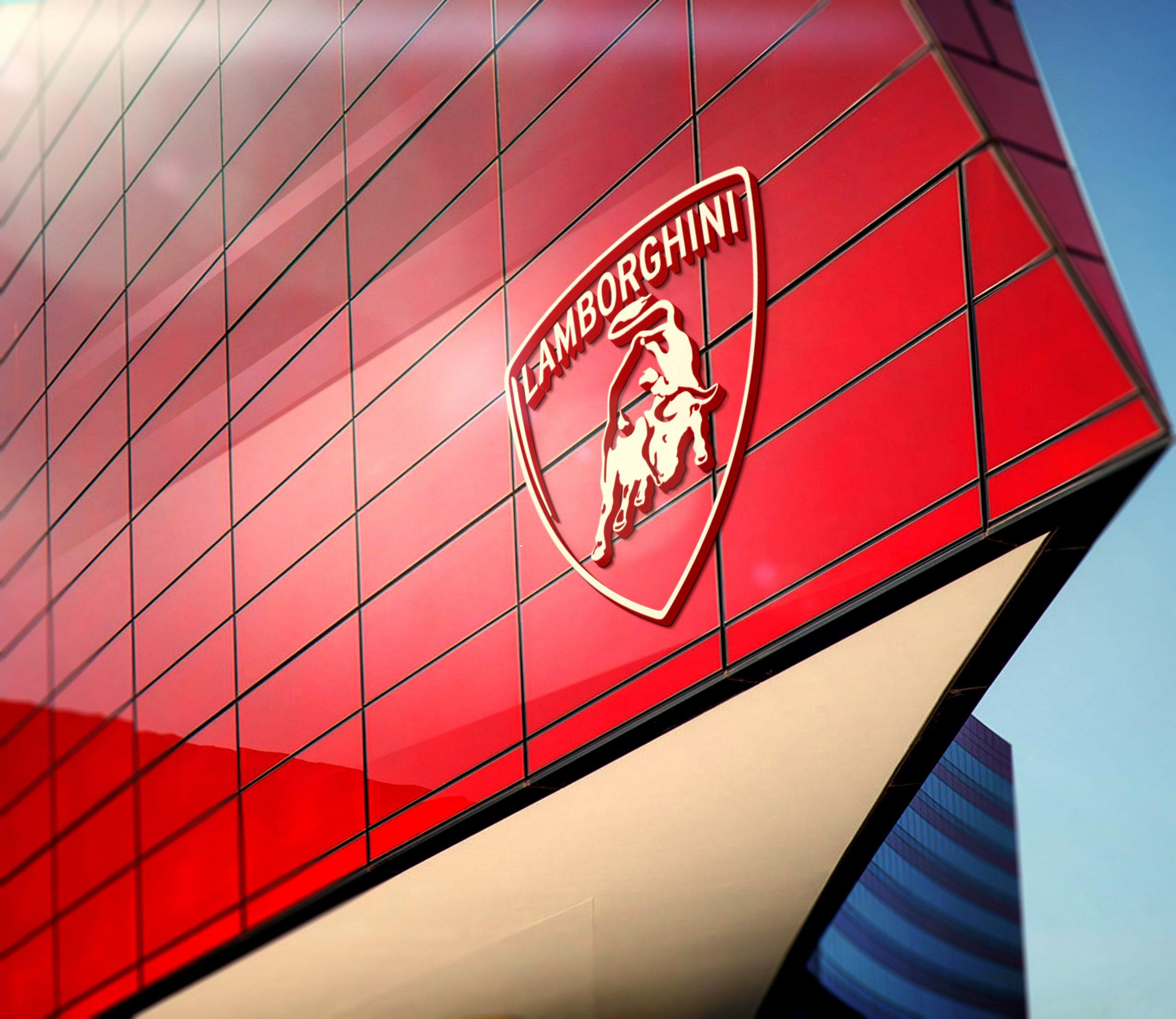 Lamborghini Free 3D Red Building Facade Logo Mockup