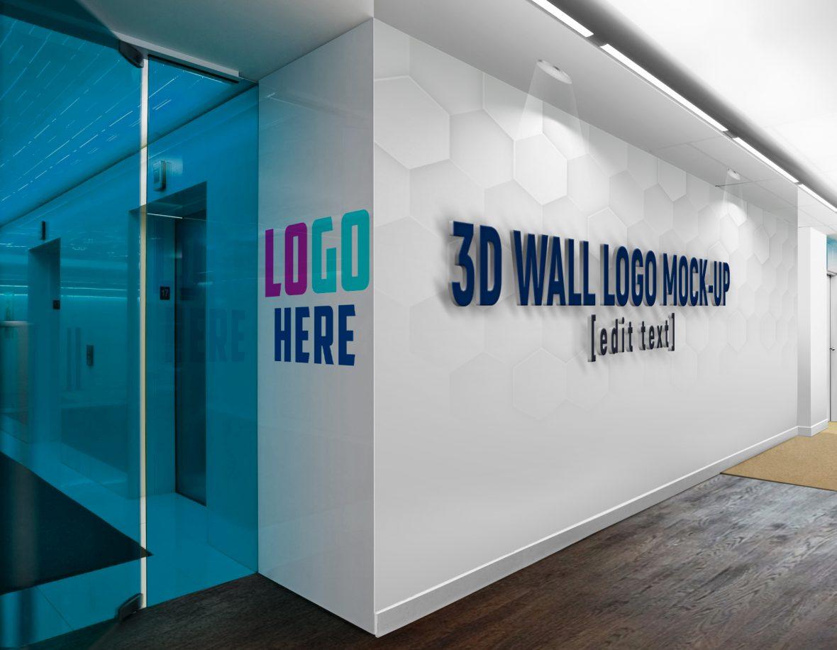 Logo-Wall-SpotLights-3D-Wall-Logo-&-Slogan-Mockup