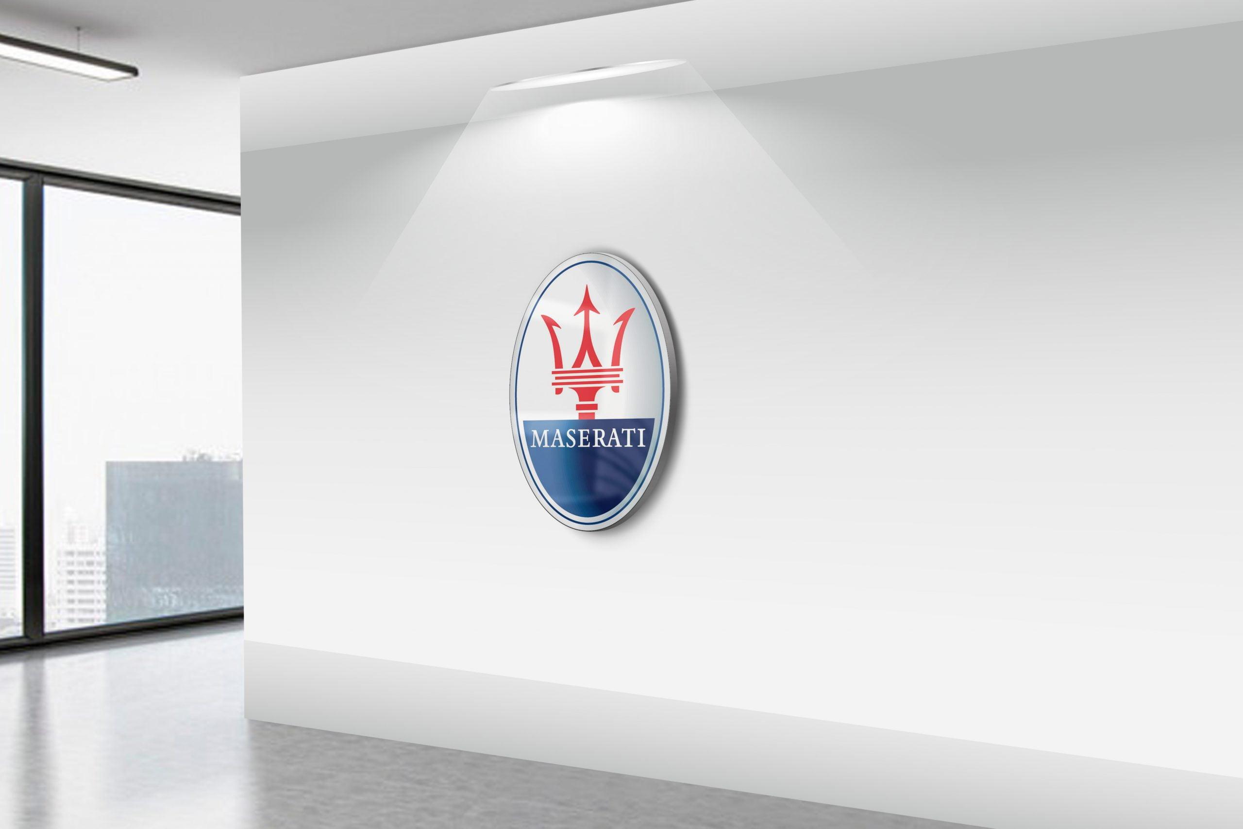 Maserati-Realistic-3D-Wall-Logo-MockUp