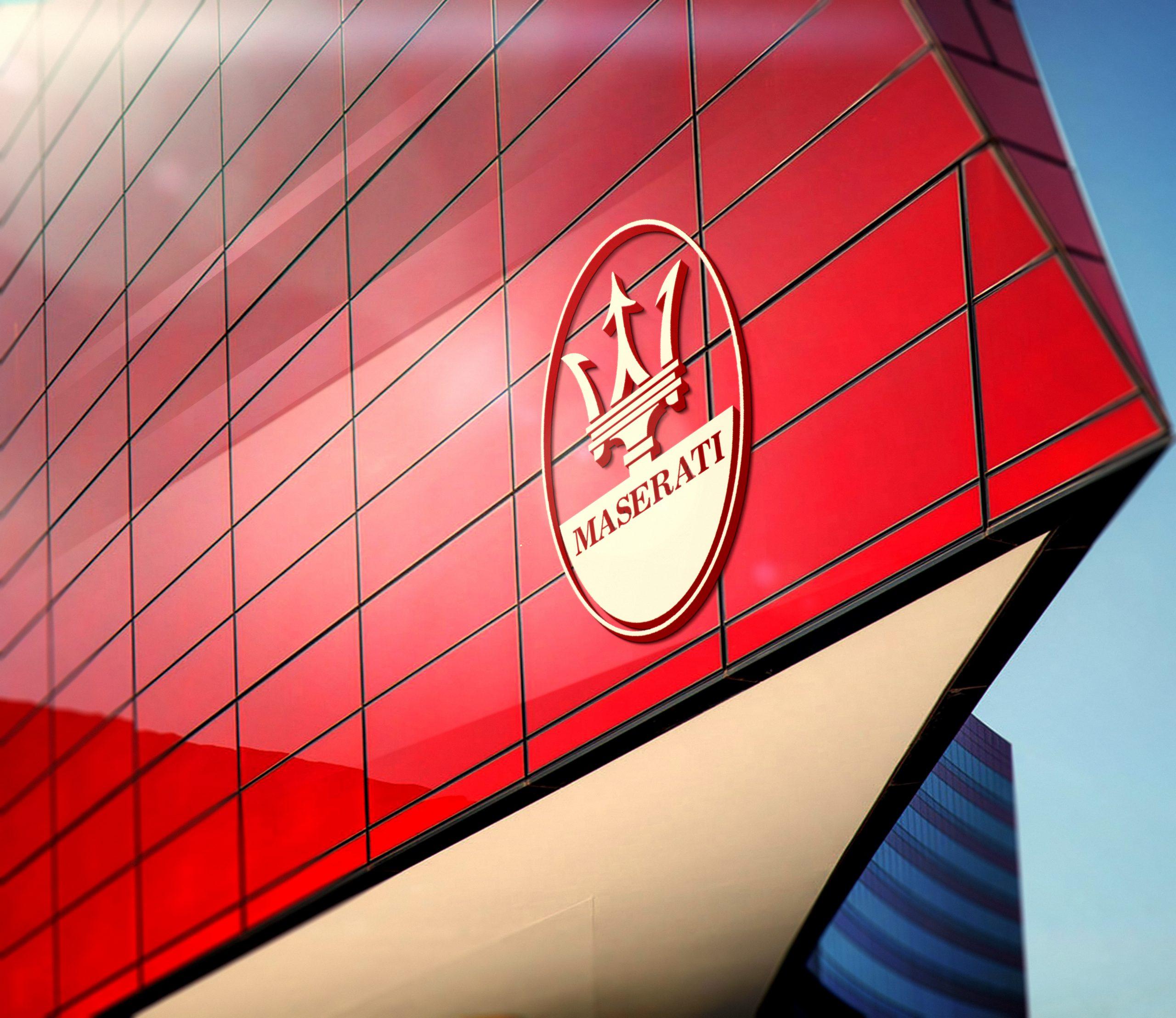 Maseratti-Red-Building-Sky-3D-Logo-Mockup