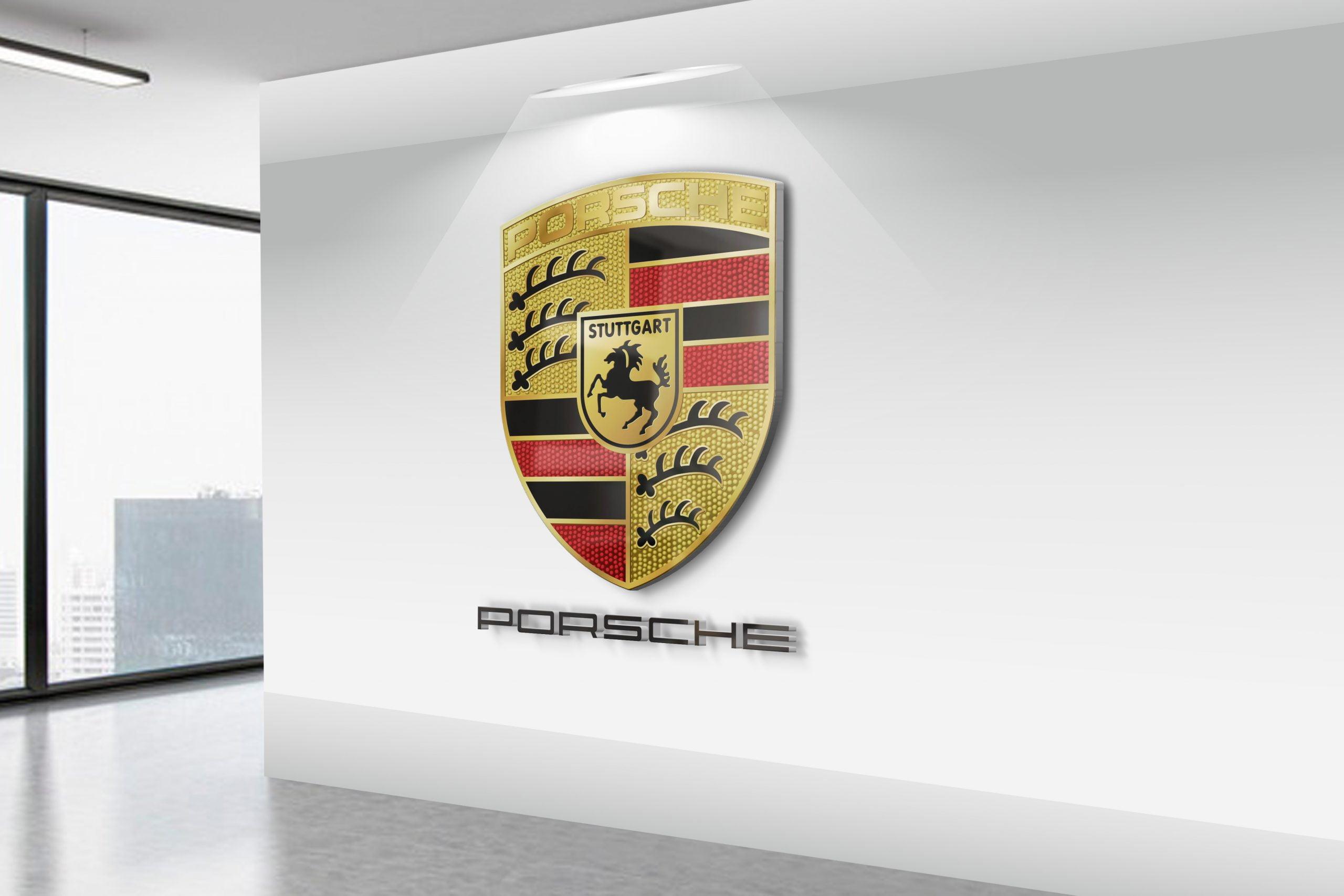 Porsche-Realistic-3D-Wall-Logo-MockUp