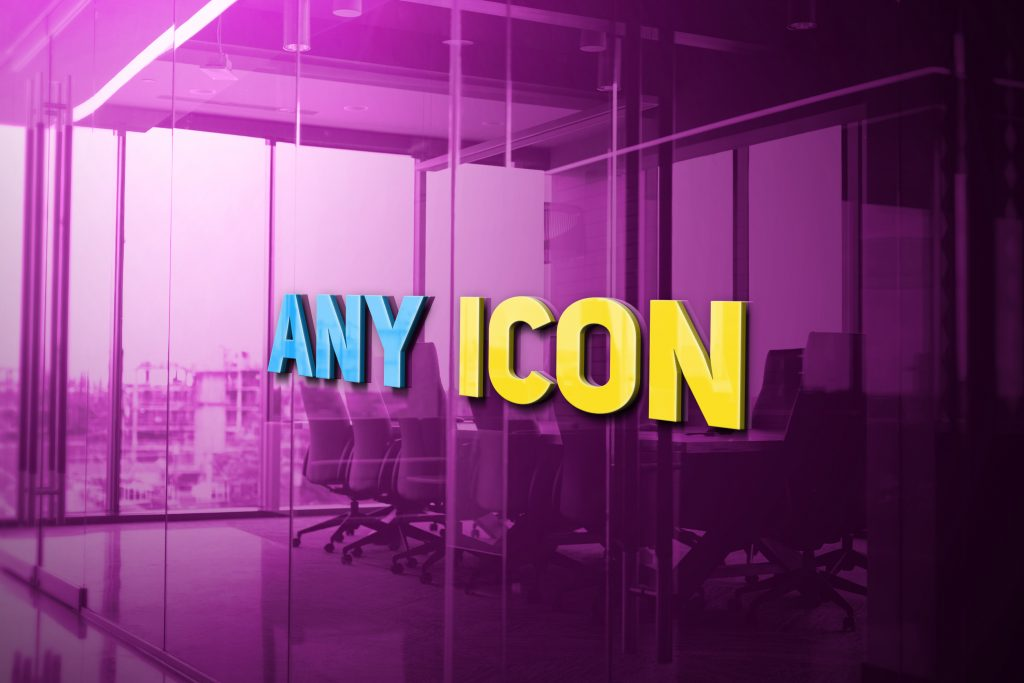 Any Icon Free 3D Glass Logo Mockup