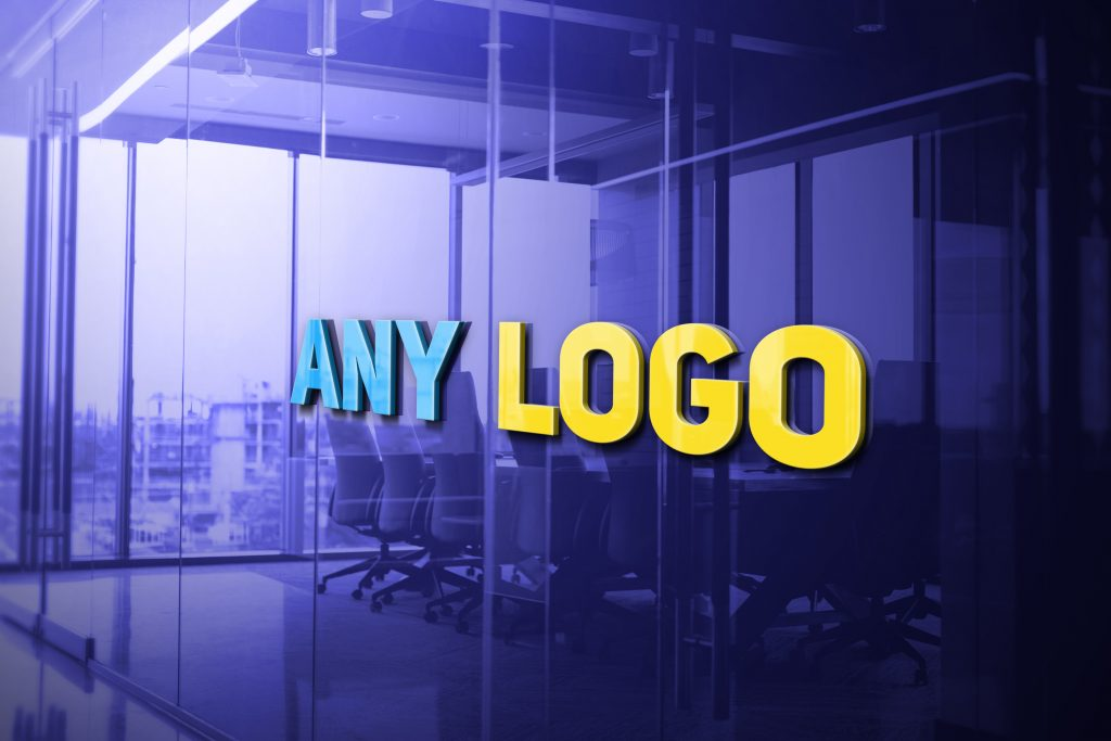 Any Logo 3D Glass Logo Mockup