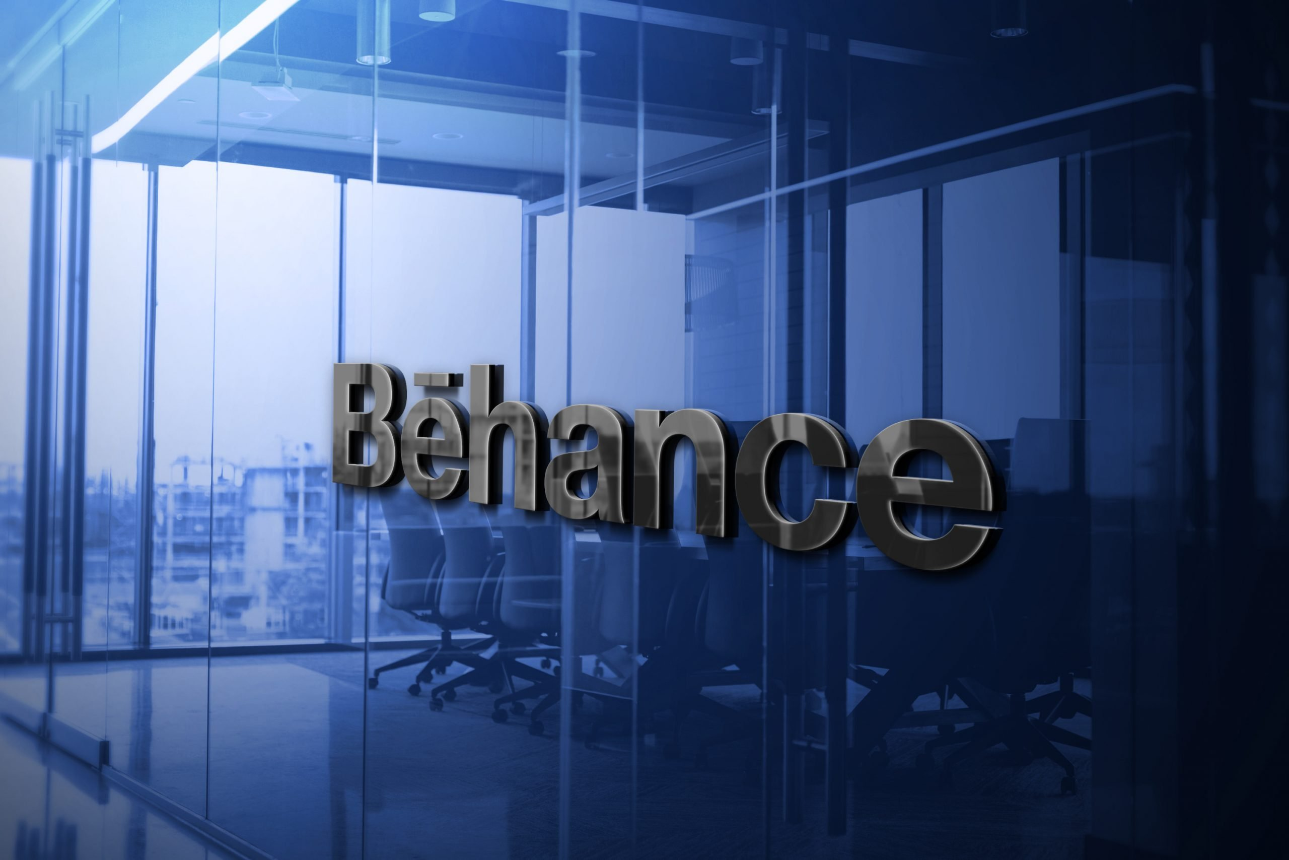 Behance Logo 3D Glass Logo Mockup